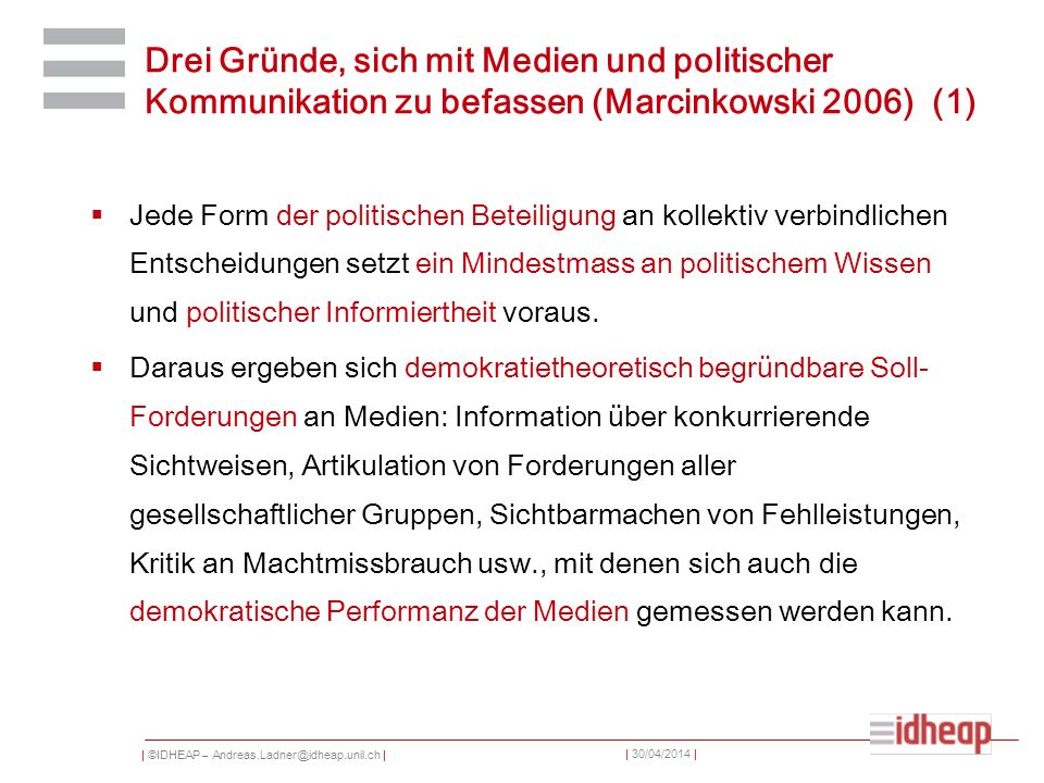   ©IDHEAP – Andreas.Ladner@idheap.unil.ch     30/04/2014   Typologie de journalistes