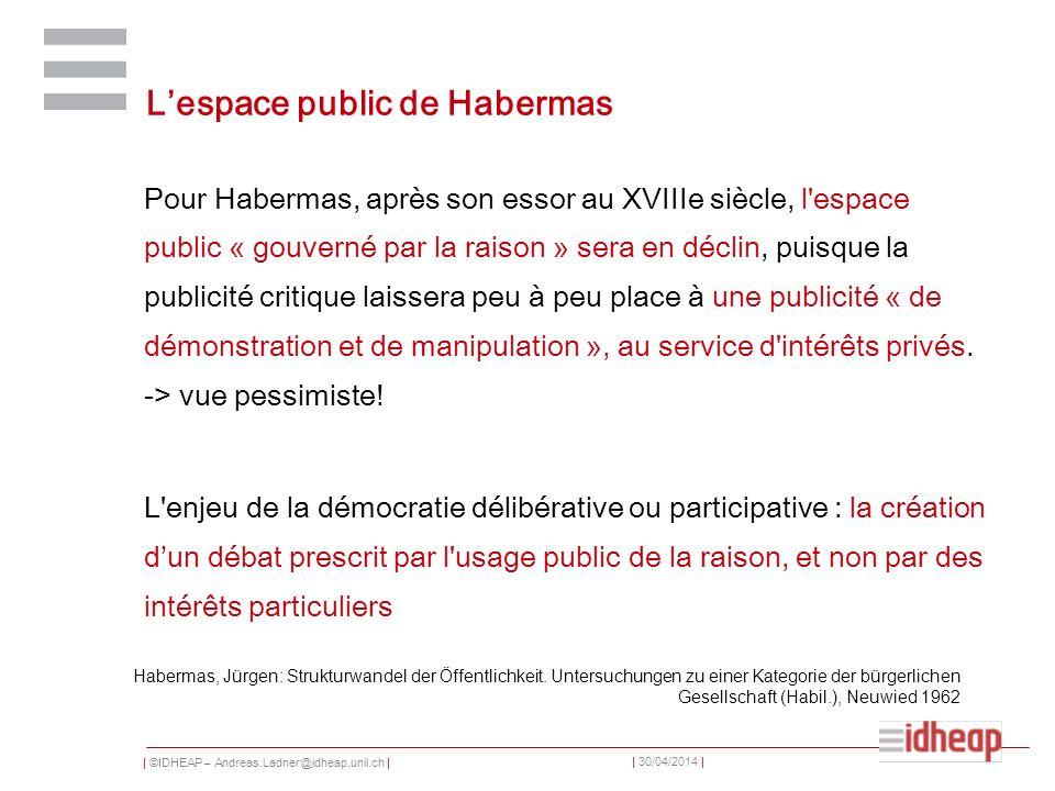 | ©IDHEAP – Andreas.Ladner@idheap.unil.ch | | 30/04/2014 | Lespace public de Habermas Pour Habermas, après son essor au XVIIIe siècle, l'espace public