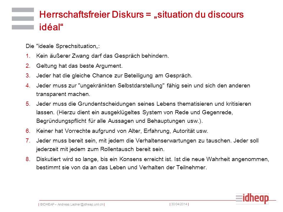| ©IDHEAP – Andreas.Ladner@idheap.unil.ch | | 30/04/2014 | Herrschaftsfreier Diskurs = situation du discours idéal Die