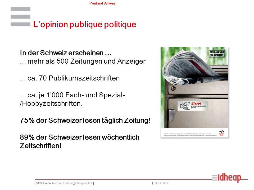 | ©IDHEAP – Andreas.Ladner@idheap.unil.ch | | 30/04/2014 | Printland Schweiz In der Schweiz erscheinen...... mehr als 500 Zeitungen und Anzeiger... ca
