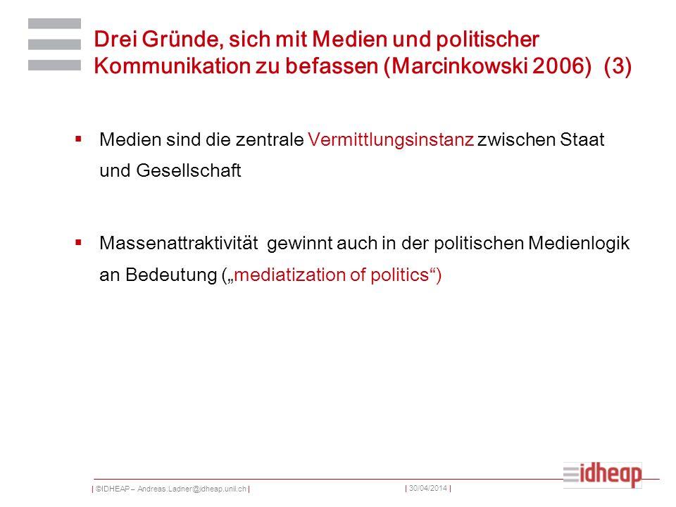  ©IDHEAP – Andreas.Ladner@idheap.unil.ch     30/04/2014   Contenu La communication Les médias Relation entre les médias es la politique Typologies et développement Communiquer dans la « media society »