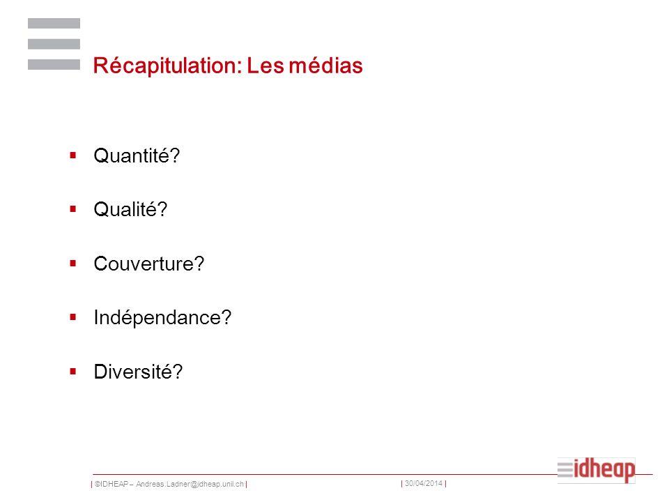 | ©IDHEAP – Andreas.Ladner@idheap.unil.ch | | 30/04/2014 | Récapitulation: Les médias Quantité? Qualité? Couverture? Indépendance? Diversité?