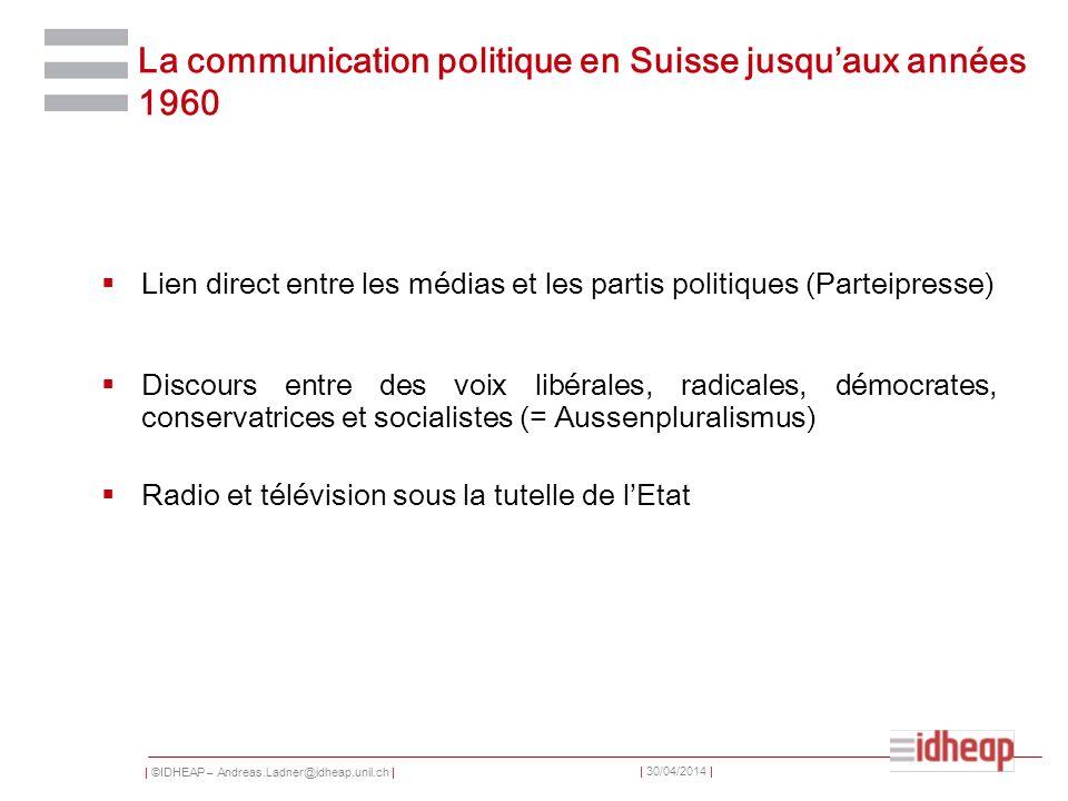 | ©IDHEAP – Andreas.Ladner@idheap.unil.ch | | 30/04/2014 | La communication politique en Suisse jusquaux années 1960 Lien direct entre les médias et l
