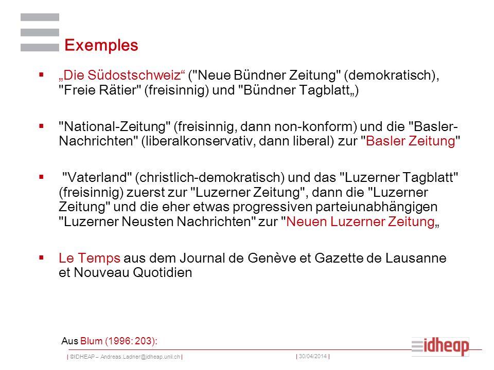 | ©IDHEAP – Andreas.Ladner@idheap.unil.ch | | 30/04/2014 | Exemples Die Südostschweiz (