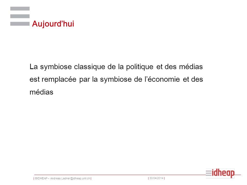 | ©IDHEAP – Andreas.Ladner@idheap.unil.ch | | 30/04/2014 | Aujourdhui La symbiose classique de la politique et des médias est remplacée par la symbios
