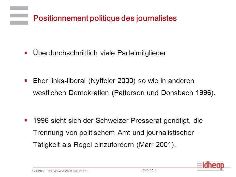 | ©IDHEAP – Andreas.Ladner@idheap.unil.ch | | 30/04/2014 | Positionnement politique des journalistes Überdurchschnittlich viele Parteimitglieder Eher