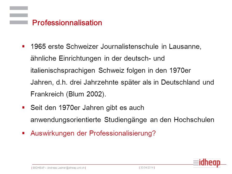 | ©IDHEAP – Andreas.Ladner@idheap.unil.ch | | 30/04/2014 | Professionnalisation 1965 erste Schweizer Journalistenschule in Lausanne, ähnliche Einricht