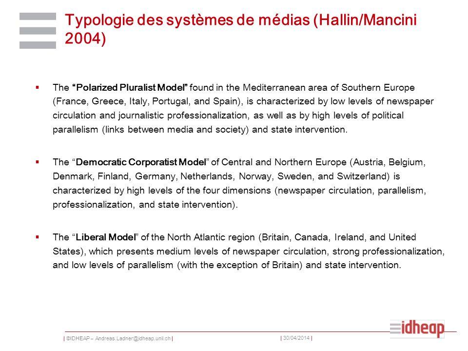 | ©IDHEAP – Andreas.Ladner@idheap.unil.ch | | 30/04/2014 | Typologie des systèmes de médias (Hallin/Mancini 2004) The Polarized Pluralist Model found