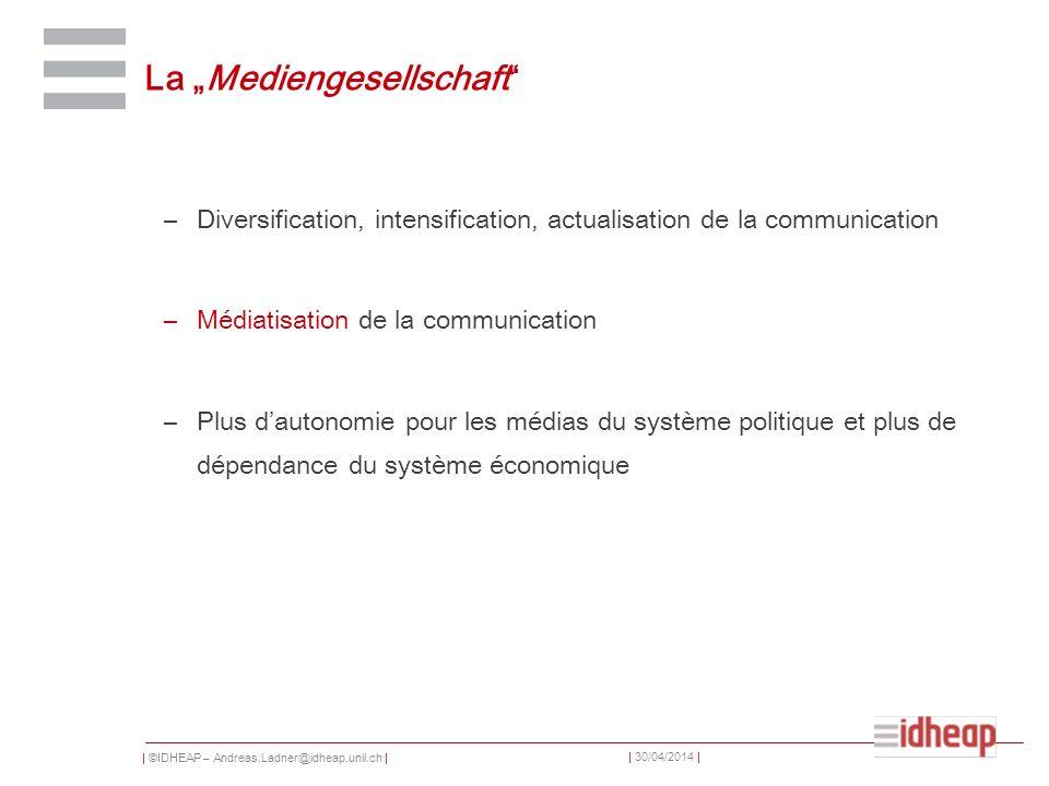 | ©IDHEAP – Andreas.Ladner@idheap.unil.ch | | 30/04/2014 | La Mediengesellschaft –Diversification, intensification, actualisation de la communication