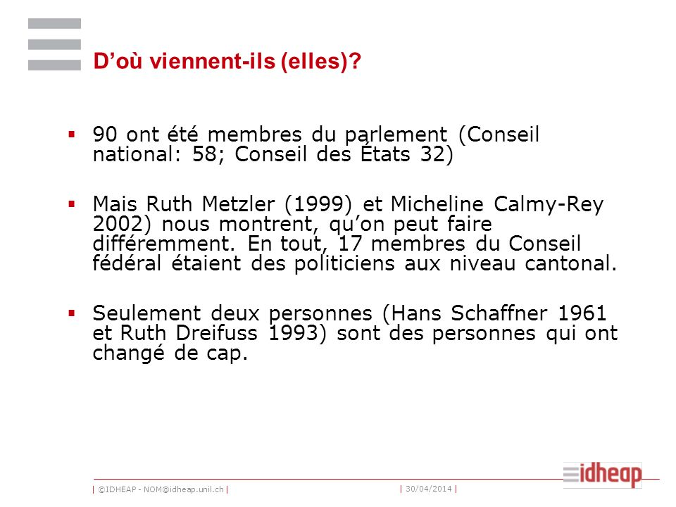| ©IDHEAP - NOM@idheap.unil.ch | | 30/04/2014 | Doù viennent-ils (elles)? 90 ont été membres du parlement (Conseil national: 58; Conseil des États 32)