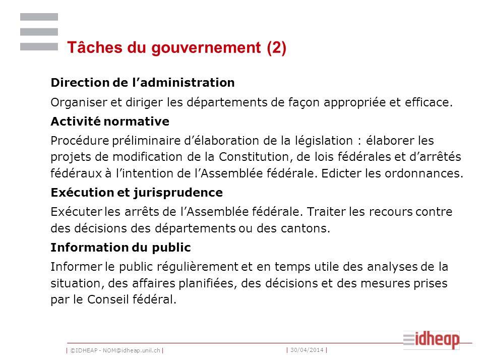 | ©IDHEAP - NOM@idheap.unil.ch | | 30/04/2014 | Tâches du gouvernement (2) Direction de ladministration Organiser et diriger les départements de façon appropriée et efficace.
