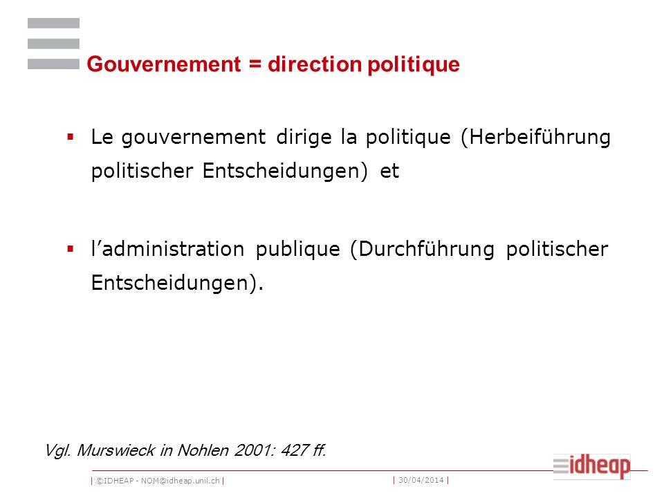 | ©IDHEAP - NOM@idheap.unil.ch | | 30/04/2014 | Gouvernement = direction politique Le gouvernement dirige la politique (Herbeiführung politischer Entscheidungen) et ladministration publique (Durchführung politischer Entscheidungen).