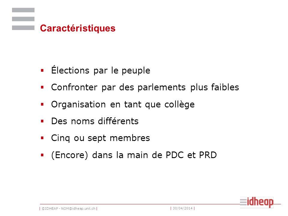 | ©IDHEAP - NOM@idheap.unil.ch | | 30/04/2014 | Caractéristiques Élections par le peuple Confronter par des parlements plus faibles Organisation en tant que collège Des noms différents Cinq ou sept membres (Encore) dans la main de PDC et PRD