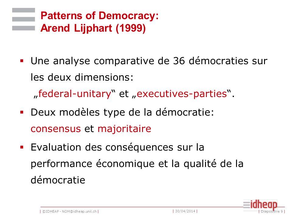 | ©IDHEAP - NOM@idheap.unil.ch | | 30/04/2014 | | Diapositive 9 | Patterns of Democracy: Arend Lijphart (1999) Une analyse comparative de 36 démocraties sur les deux dimensions: federal-unitary et executives-parties.