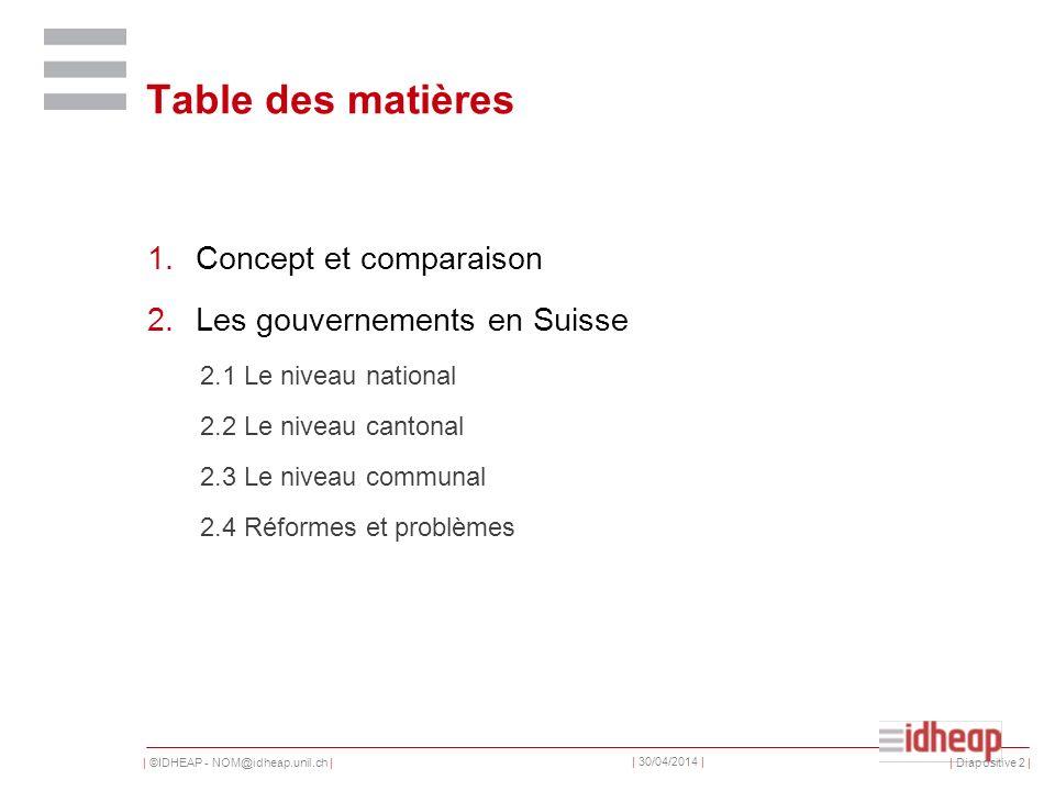 | ©IDHEAP - NOM@idheap.unil.ch | | 30/04/2014 | Table des matières 1.Concept et comparaison 2.Les gouvernements en Suisse 2.1 Le niveau national 2.2 Le niveau cantonal 2.3 Le niveau communal 2.4 Réformes et problèmes | Diapositive 2 |