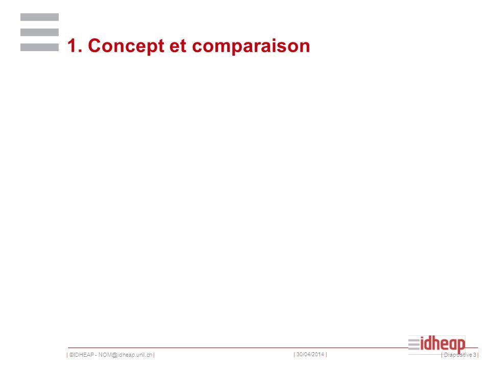 | ©IDHEAP - NOM@idheap.unil.ch | | 30/04/2014 | 1. Concept et comparaison | Diapositive 3 |