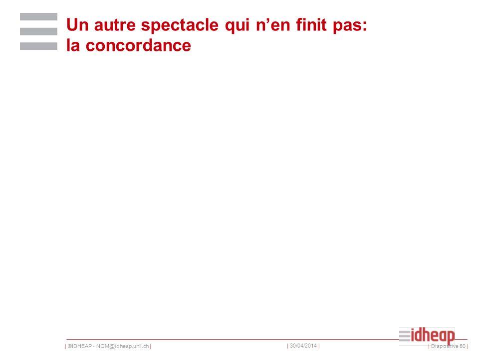 | ©IDHEAP - NOM@idheap.unil.ch | | 30/04/2014 | Un autre spectacle qui nen finit pas: la concordance | Diapositive 50 |