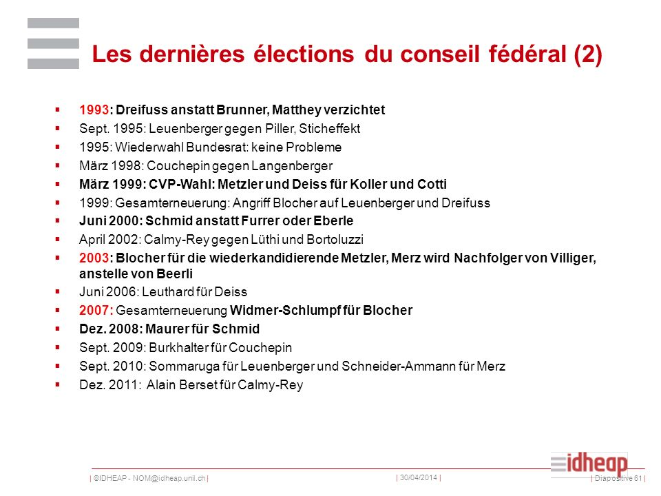 | ©IDHEAP - NOM@idheap.unil.ch | | 30/04/2014 | Les dernières élections du conseil fédéral (2) | Diapositive 61 | 1993: Dreifuss anstatt Brunner, Matthey verzichtet Sept.