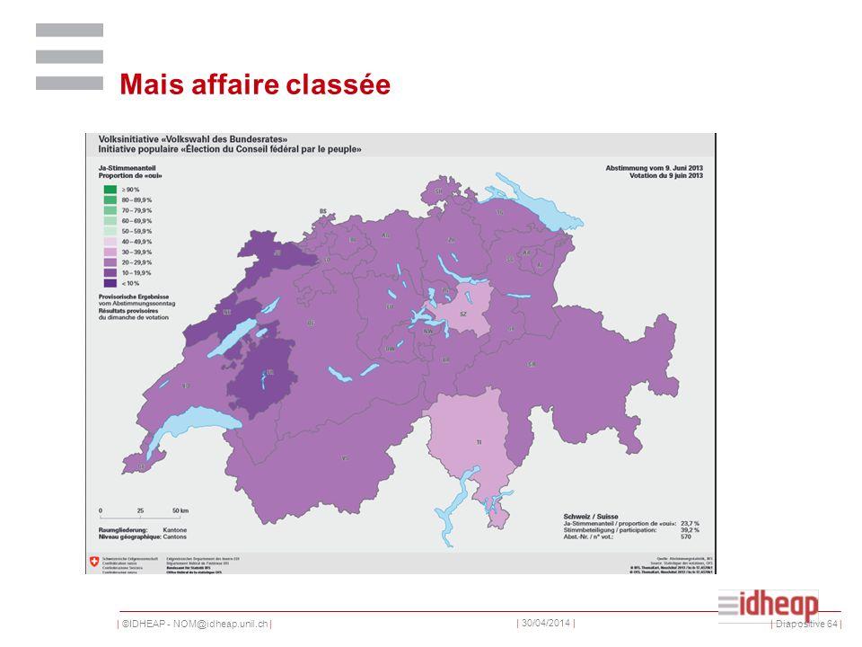 | ©IDHEAP - NOM@idheap.unil.ch | | 30/04/2014 | Mais affaire classée | Diapositive 64 |