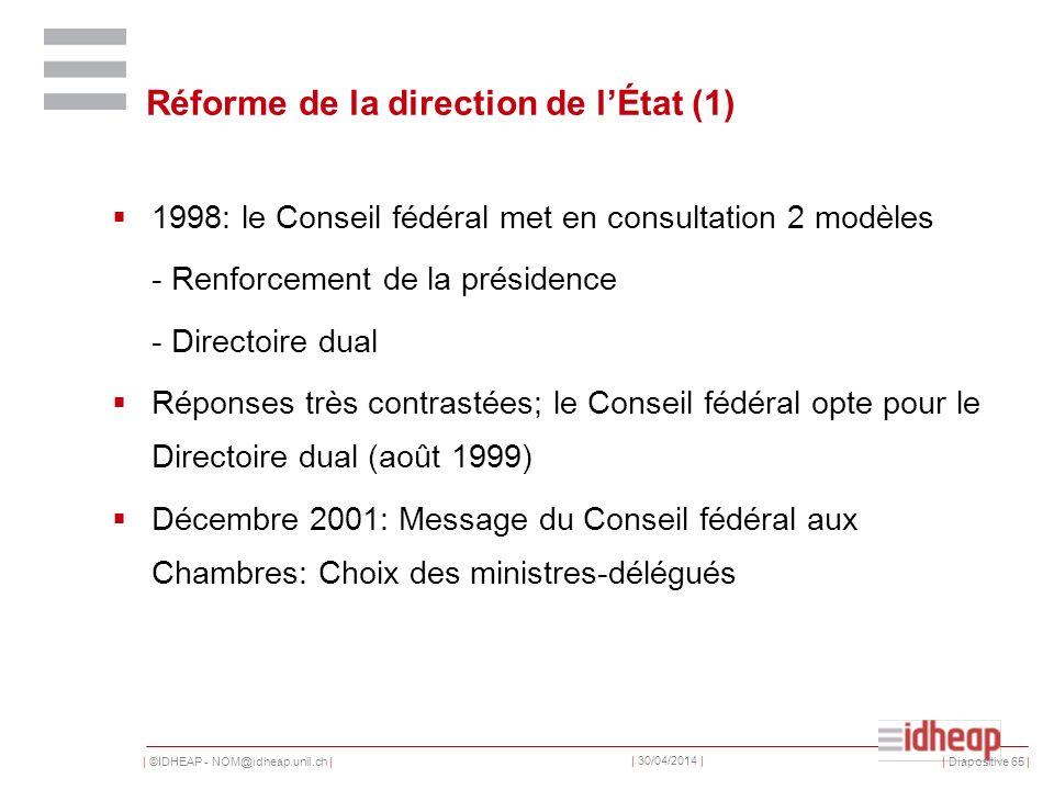 | ©IDHEAP - NOM@idheap.unil.ch | | 30/04/2014 | Réforme de la direction de lÉtat (1) 1998: le Conseil fédéral met en consultation 2 modèles - Renforcement de la présidence - Directoire dual Réponses très contrastées; le Conseil fédéral opte pour le Directoire dual (août 1999) Décembre 2001: Message du Conseil fédéral aux Chambres: Choix des ministres-délégués | Diapositive 65 |