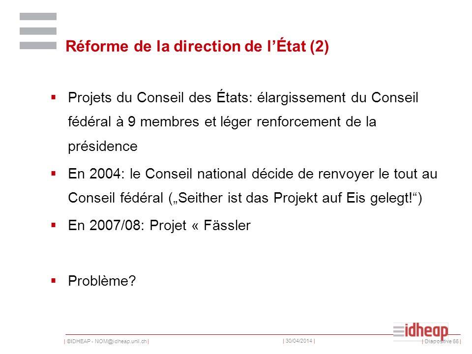 | ©IDHEAP - NOM@idheap.unil.ch | | 30/04/2014 | Réforme de la direction de lÉtat (2) Projets du Conseil des États: élargissement du Conseil fédéral à 9 membres et léger renforcement de la présidence En 2004: le Conseil national décide de renvoyer le tout au Conseil fédéral (Seither ist das Projekt auf Eis gelegt!) En 2007/08: Projet « Fässler Problème.