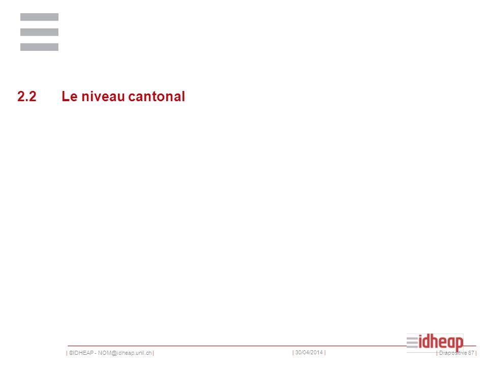 | ©IDHEAP - NOM@idheap.unil.ch | | 30/04/2014 | 2.2 Le niveau cantonal | Diapositive 67 |