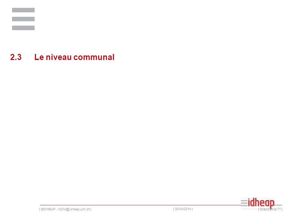 | ©IDHEAP - NOM@idheap.unil.ch | | 30/04/2014 | 2.3Le niveau communal | Diapositive 77 |