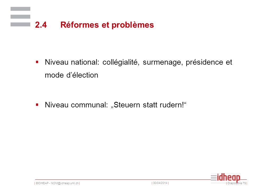| ©IDHEAP - NOM@idheap.unil.ch | | 30/04/2014 | 2.4Réformes et problèmes Niveau national: collégialité, surmenage, présidence et mode délection Niveau communal: Steuern statt rudern.