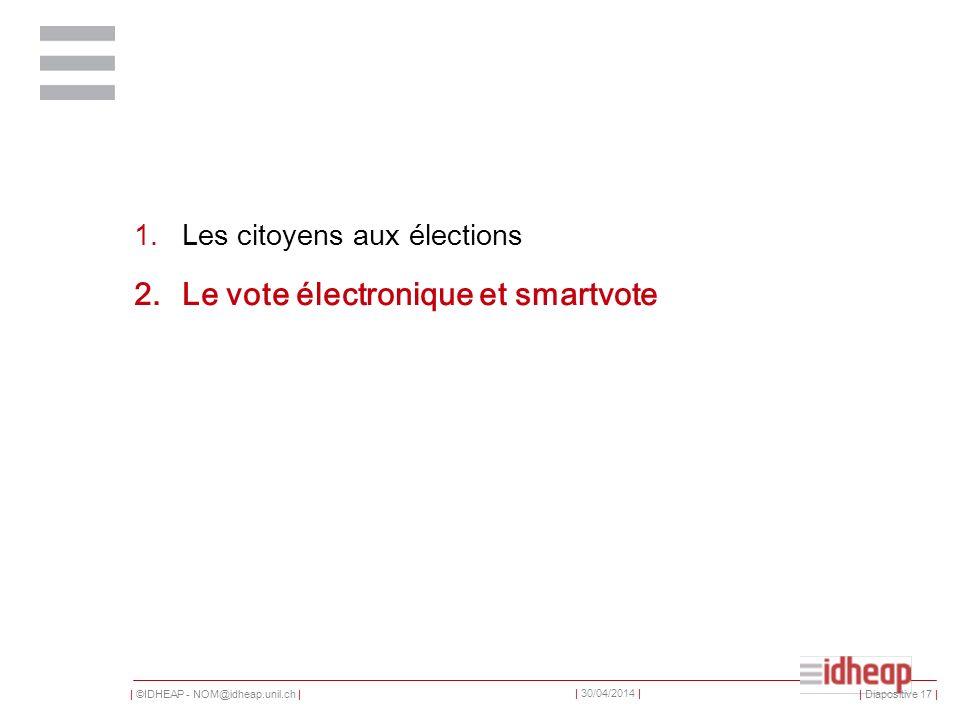 | ©IDHEAP - NOM@idheap.unil.ch | | 30/04/2014 | 1.Les citoyens aux élections 2.Le vote électronique et smartvote | Diapositive 17 |