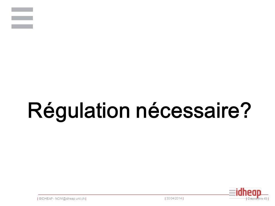 | ©IDHEAP - NOM@idheap.unil.ch | | 30/04/2014 | Régulation nécessaire | Diapositive 49 |