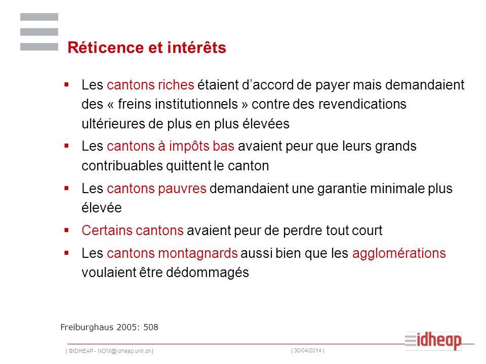 | ©IDHEAP - NOM@idheap.unil.ch | | 30/04/2014 | Réticence et intérêts Les cantons riches étaient daccord de payer mais demandaient des « freins instit