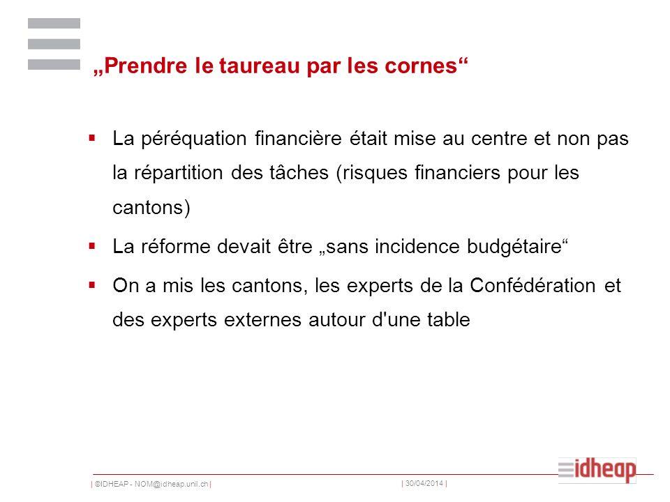 | ©IDHEAP - NOM@idheap.unil.ch | | 30/04/2014 | Prendre le taureau par les cornes La péréquation financière était mise au centre et non pas la réparti