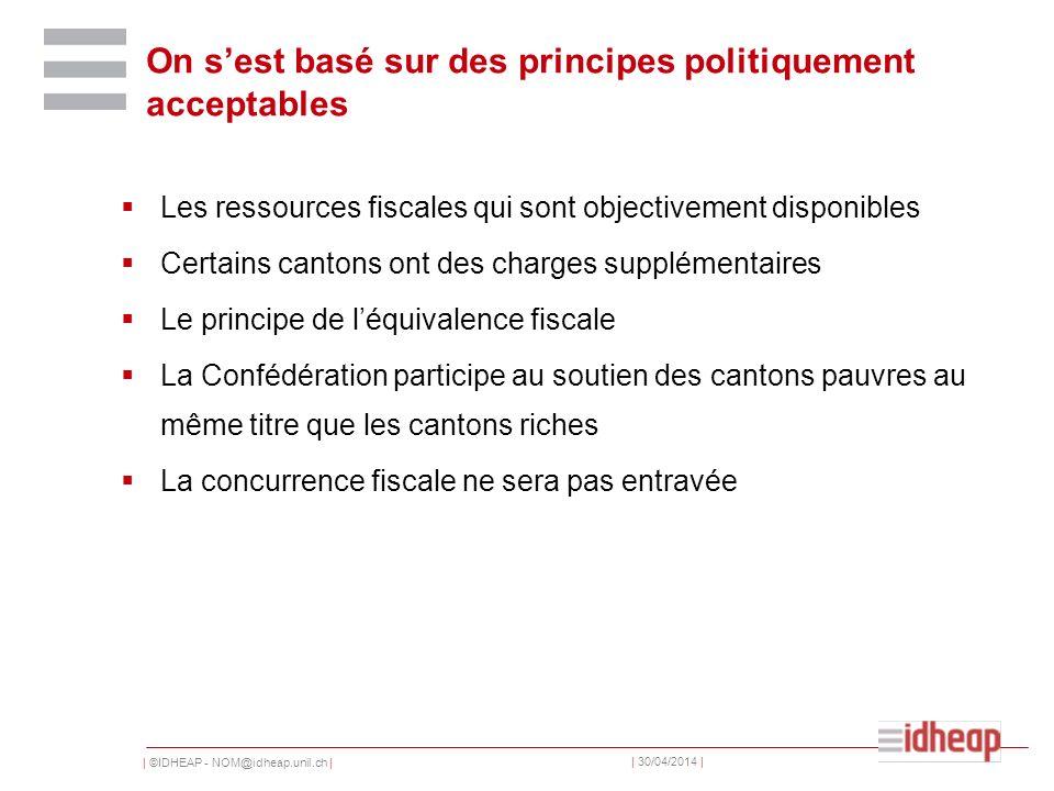 | ©IDHEAP - NOM@idheap.unil.ch | | 30/04/2014 | On sest basé sur des principes politiquement acceptables Les ressources fiscales qui sont objectivemen