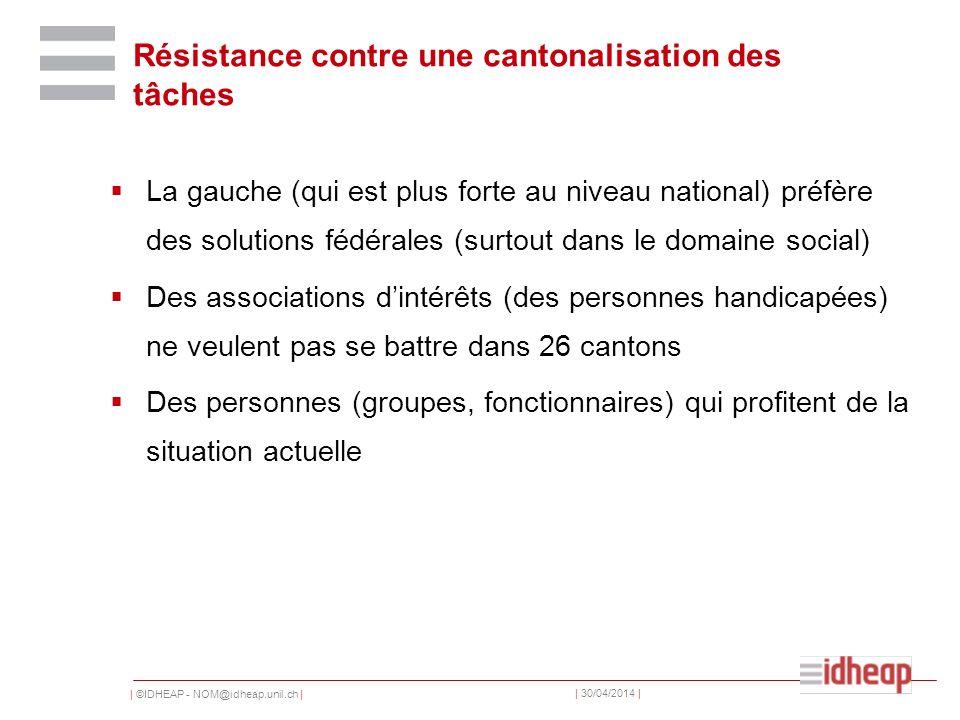 | ©IDHEAP - NOM@idheap.unil.ch | | 30/04/2014 | Résistance contre une cantonalisation des tâches La gauche (qui est plus forte au niveau national) pré