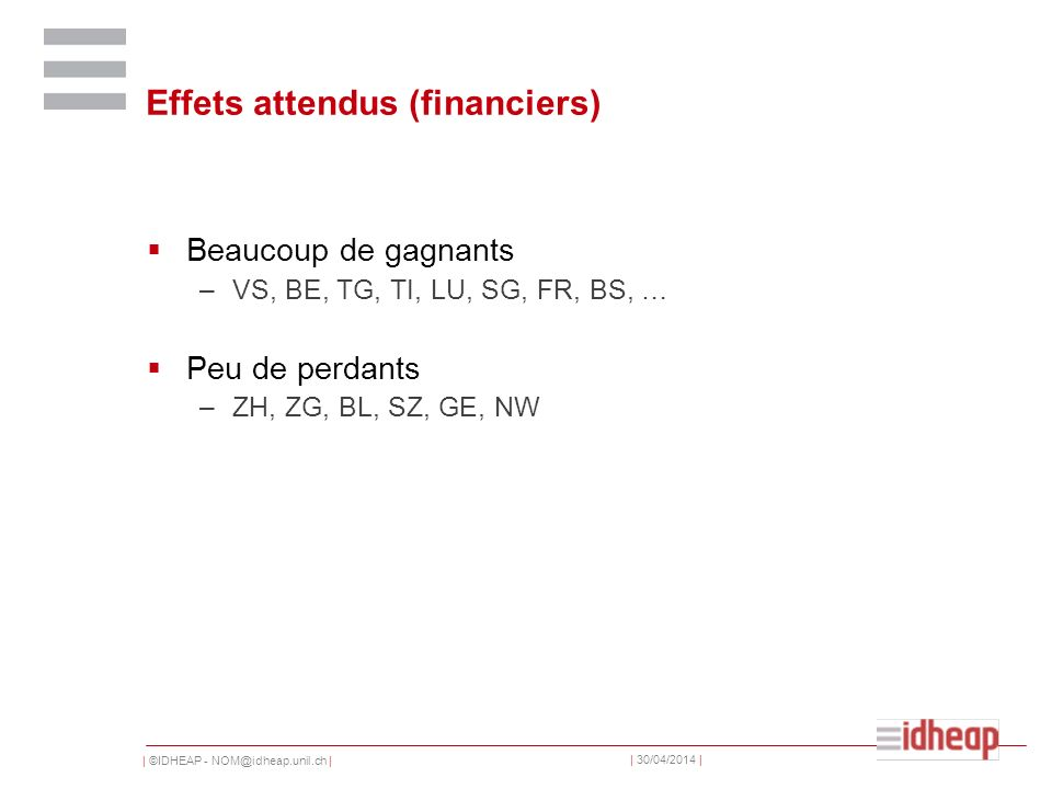| ©IDHEAP - NOM@idheap.unil.ch | | 30/04/2014 | Effets attendus (financiers) Beaucoup de gagnants –VS, BE, TG, TI, LU, SG, FR, BS, … Peu de perdants –ZH, ZG, BL, SZ, GE, NW
