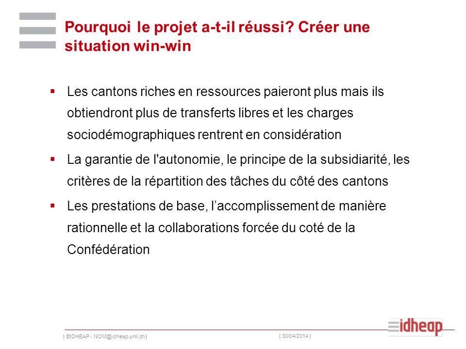 | ©IDHEAP - NOM@idheap.unil.ch | | 30/04/2014 | Pourquoi le projet a-t-il réussi? Créer une situation win-win Les cantons riches en ressources paieron