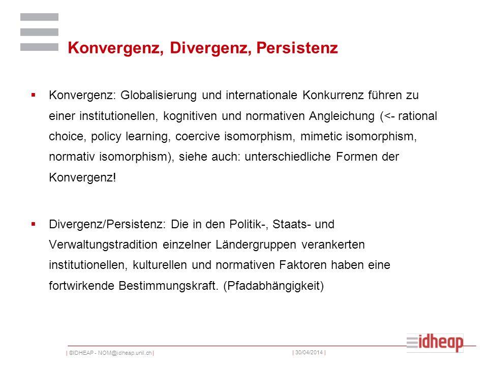 | ©IDHEAP - NOM@idheap.unil.ch | | 30/04/2014 | Konvergenz, Divergenz, Persistenz Konvergenz: Globalisierung und internationale Konkurrenz führen zu einer institutionellen, kognitiven und normativen Angleichung (<- rational choice, policy learning, coercive isomorphism, mimetic isomorphism, normativ isomorphism), siehe auch: unterschiedliche Formen der Konvergenz.