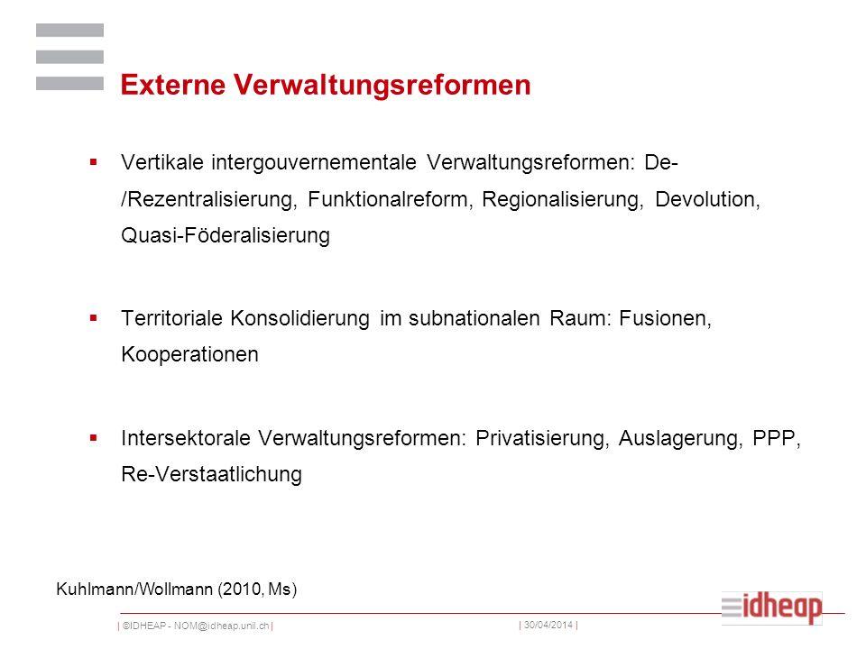 | ©IDHEAP - NOM@idheap.unil.ch | | 30/04/2014 | Externe Verwaltungsreformen Vertikale intergouvernementale Verwaltungsreformen: De- /Rezentralisierung
