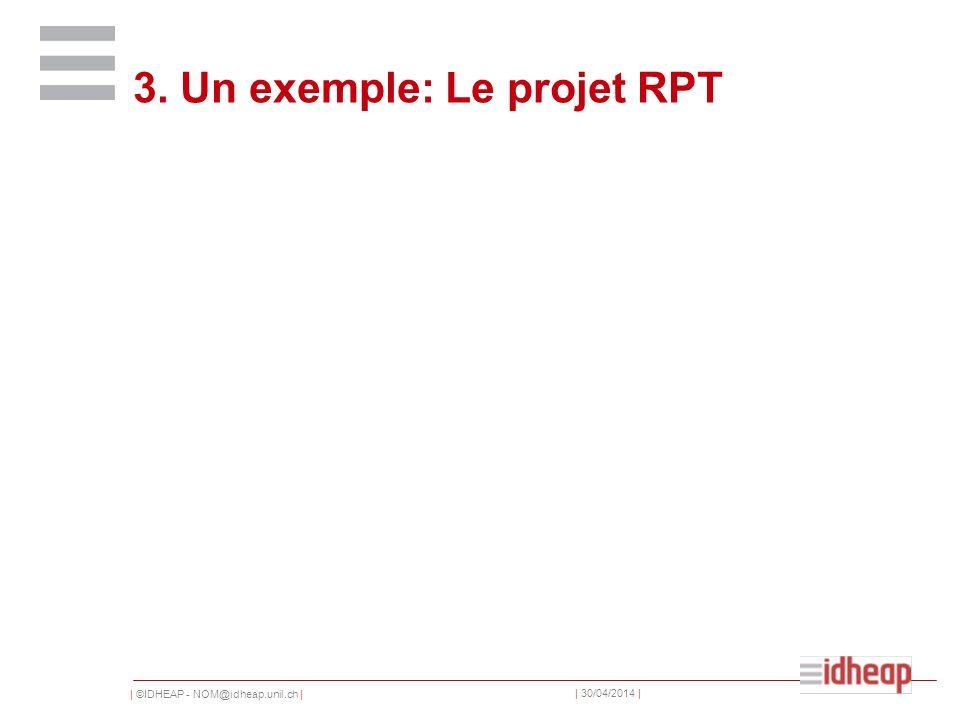 | ©IDHEAP - NOM@idheap.unil.ch | | 30/04/2014 | 3. Un exemple: Le projet RPT