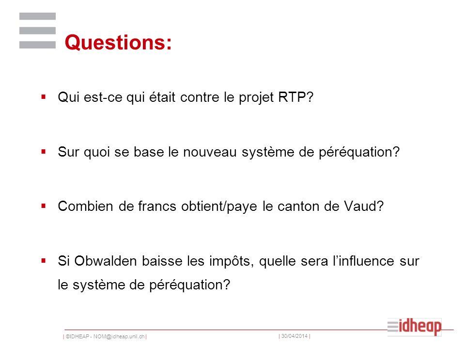 | ©IDHEAP - NOM@idheap.unil.ch | | 30/04/2014 | Questions: Qui est-ce qui était contre le projet RTP? Sur quoi se base le nouveau système de péréquati