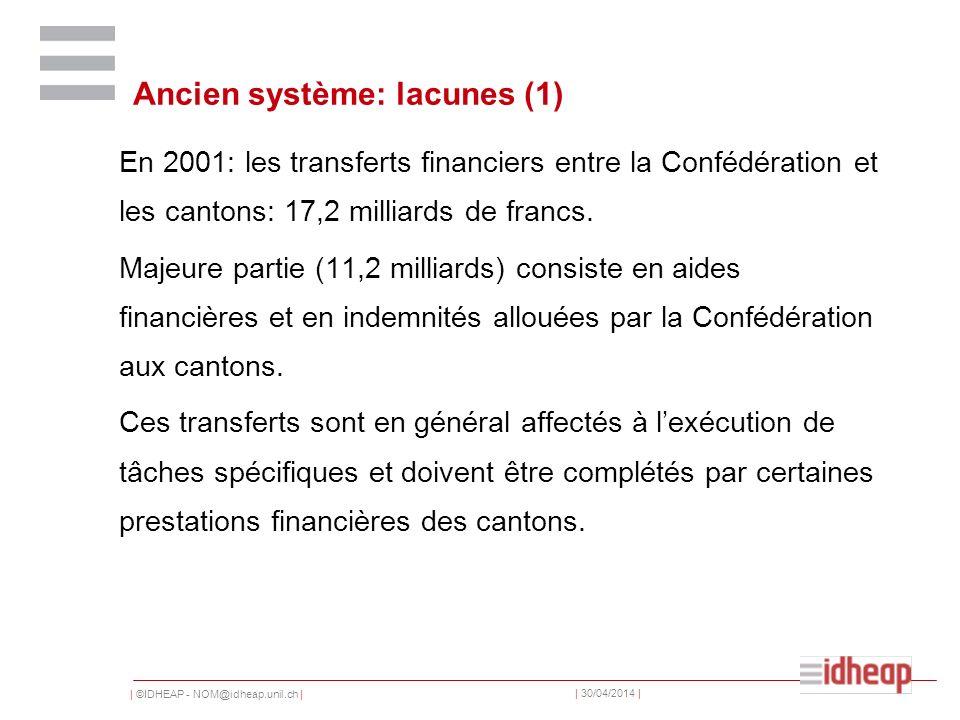 | ©IDHEAP - NOM@idheap.unil.ch | | 30/04/2014 | Ancien système: lacunes (1) En 2001: les transferts financiers entre la Confédération et les cantons: 17,2 milliards de francs.