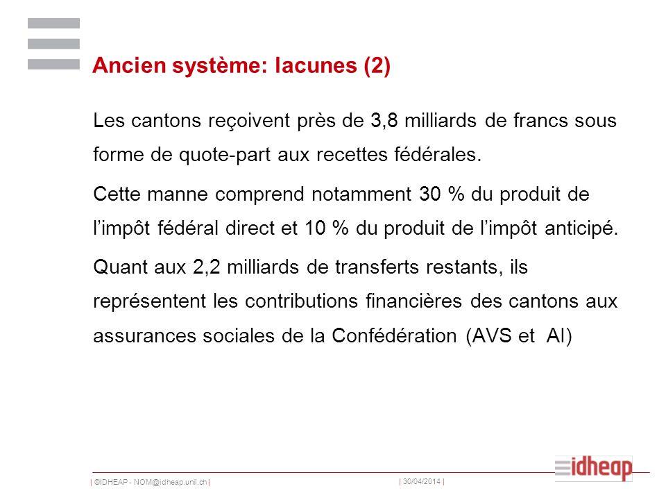 | ©IDHEAP - NOM@idheap.unil.ch | | 30/04/2014 | Ancien système: lacunes (2) Les cantons reçoivent près de 3,8 milliards de francs sous forme de quote-part aux recettes fédérales.