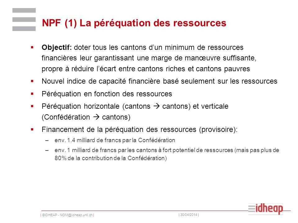 | ©IDHEAP - NOM@idheap.unil.ch | | 30/04/2014 | NPF (1) La péréquation des ressources Objectif: doter tous les cantons dun minimum de ressources finan