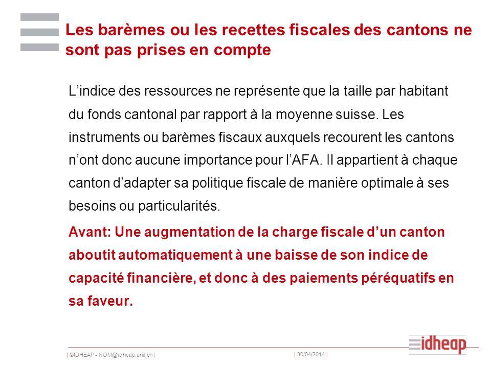 | ©IDHEAP - NOM@idheap.unil.ch | | 30/04/2014 | Les barèmes ou les recettes fiscales des cantons ne sont pas prises en compte Lindice des ressources ne représente que la taille par habitant du fonds cantonal par rapport à la moyenne suisse.