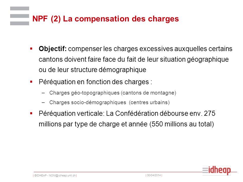| ©IDHEAP - NOM@idheap.unil.ch | | 30/04/2014 | NPF (2) La compensation des charges Objectif: compenser les charges excessives auxquelles certains can