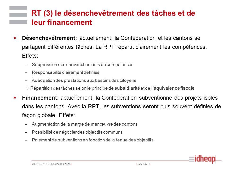 | ©IDHEAP - NOM@idheap.unil.ch | | 30/04/2014 | RT (3) le désenchevêtrement des tâches et de leur financement Désenchevêtrement: actuellement, la Conf