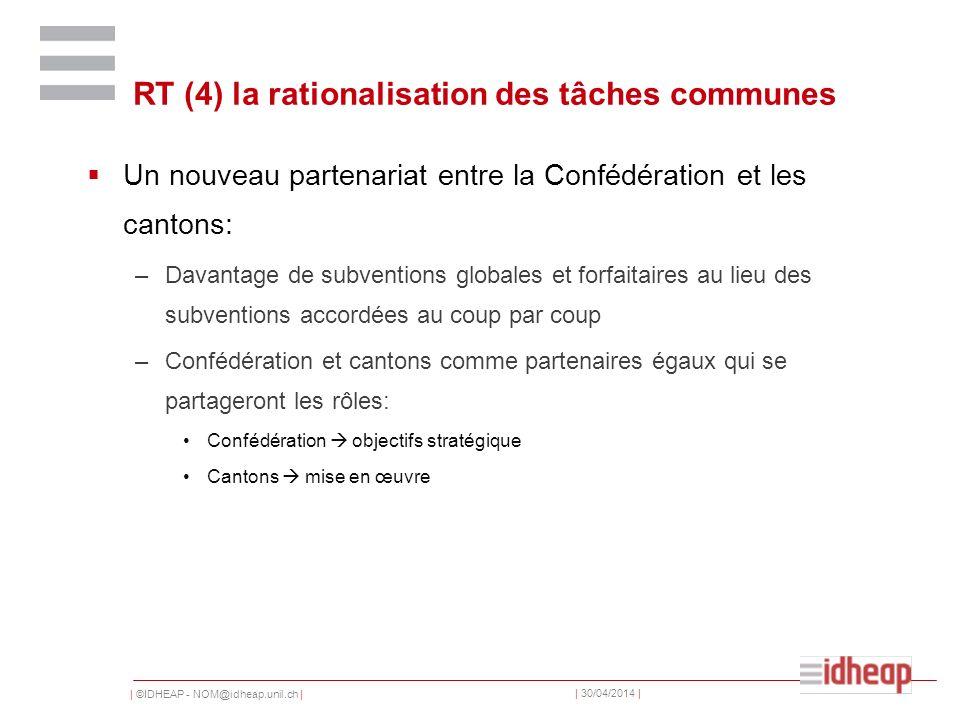 | ©IDHEAP - NOM@idheap.unil.ch | | 30/04/2014 | RT (4) la rationalisation des tâches communes Un nouveau partenariat entre la Confédération et les can