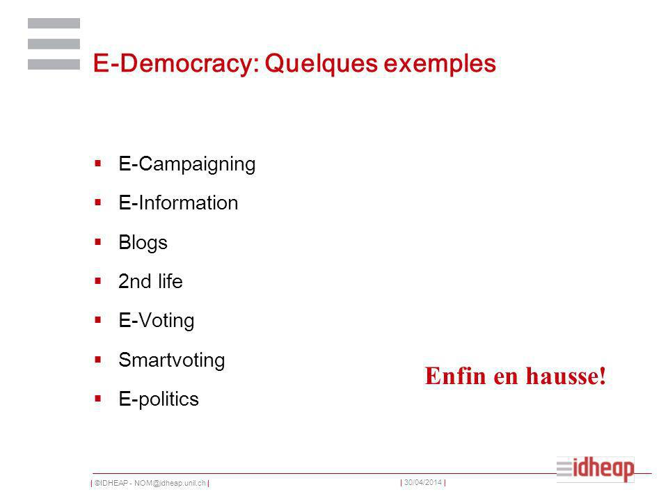 | ©IDHEAP - NOM@idheap.unil.ch | | 30/04/2014 | E-Democracy: Quelques exemples E-Campaigning E-Information Blogs 2nd life E-Voting Smartvoting E-politics Enfin en hausse!