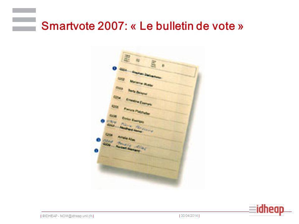 | ©IDHEAP - NOM@idheap.unil.ch | | 30/04/2014 | Smartvote 2007: « Le bulletin de vote »