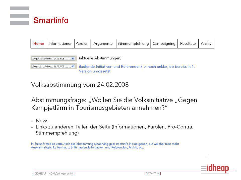 | ©IDHEAP - NOM@idheap.unil.ch | | 30/04/2014 | Smartinfo
